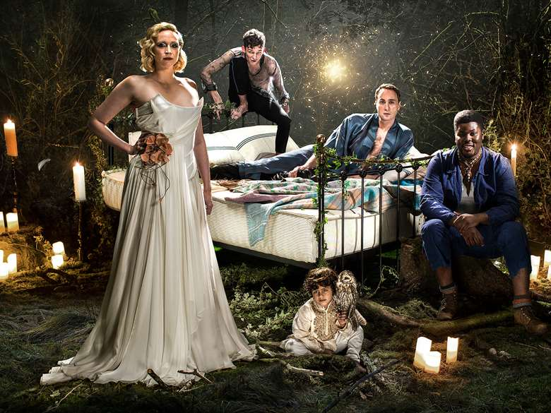 Gwendoline Christie, David Moorst, Ryan Bawa, Oliver Chris and Hammed Animashaun in Midsummer Night's Dream at The Bridge Theatre