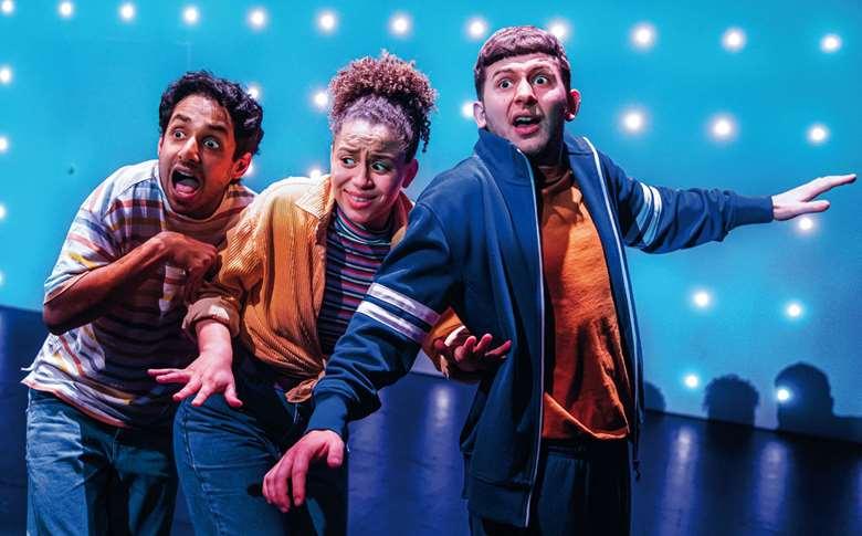 Akshay Sharan, Emily Burnett and James Russell-Morley starring in The Bee in Me at the Unicorn Theatre