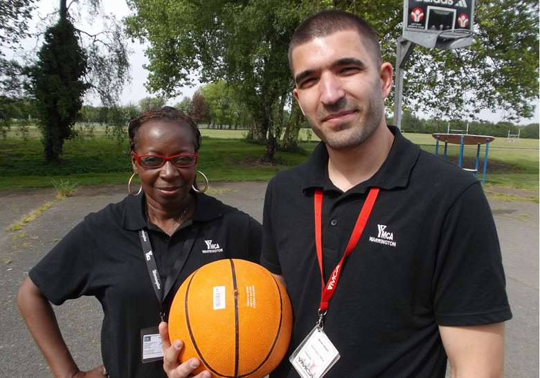 Bims Alalade (left), with youth worker Brian Hayes, will feature on tonight's episode of Undercover Boss. Picture: YMCA England