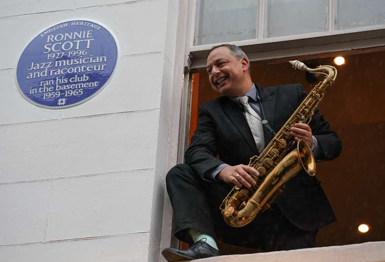 Saxophonist Alex Garnett at the great unveiling