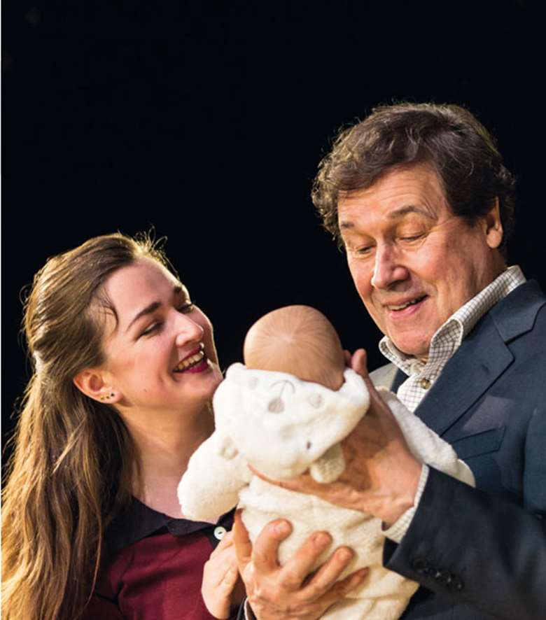 Amy Molloy as Julie and Stephen Rea as Eric Miller at the Jerwood Theatre upstairs