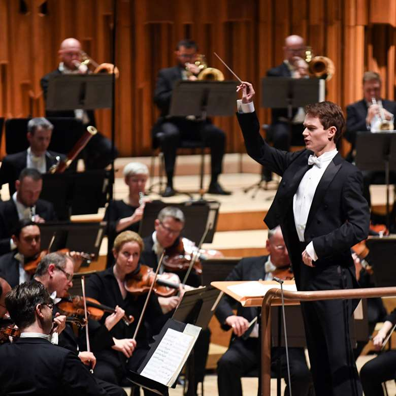 Felix Mildenberger conducts the LSO on his way to victory (photo: Doug Peters/PA Wire)