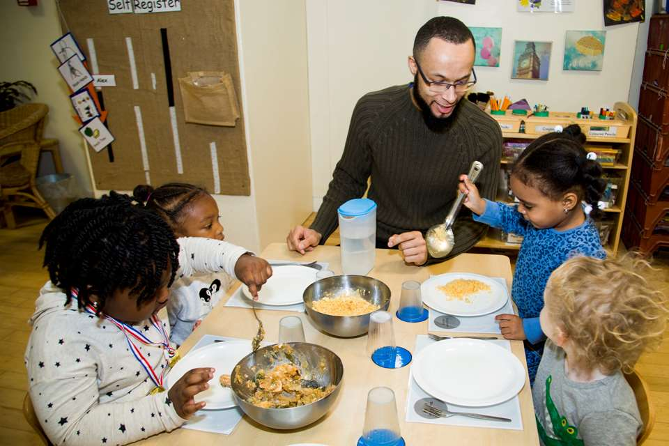 Sharing meals with children at LEYF's nursery in Stockwell.