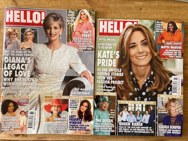 Hello! magazine with new format shown on right