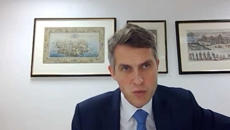 Gavin Williamson was questioned by the Education Select Committee. Picture: Parliament TV