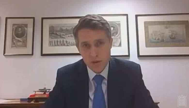 Gavin Williamson answers questions from the education select committee over videolink. Picture: Parliament TV