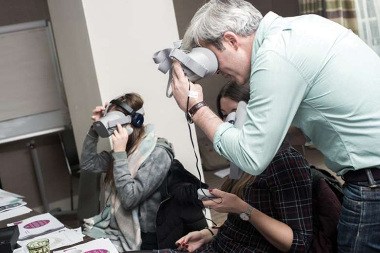 Virtual reality technology is used to give professionals trauma-awareness training. Picture: Cornerstone Partnership