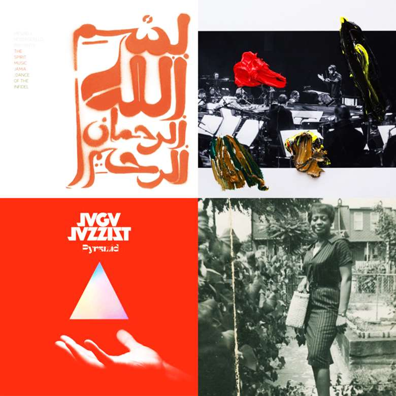 Playlist album covers: Meshell Ndegeocello's The Spirit Music Jamia: Dance of the Infidel – Jameszoo and the Metropole Orkest's Melkweg – Jaga Jazzist's Pyramid – and Jeff Parker's Suite for Max Brown