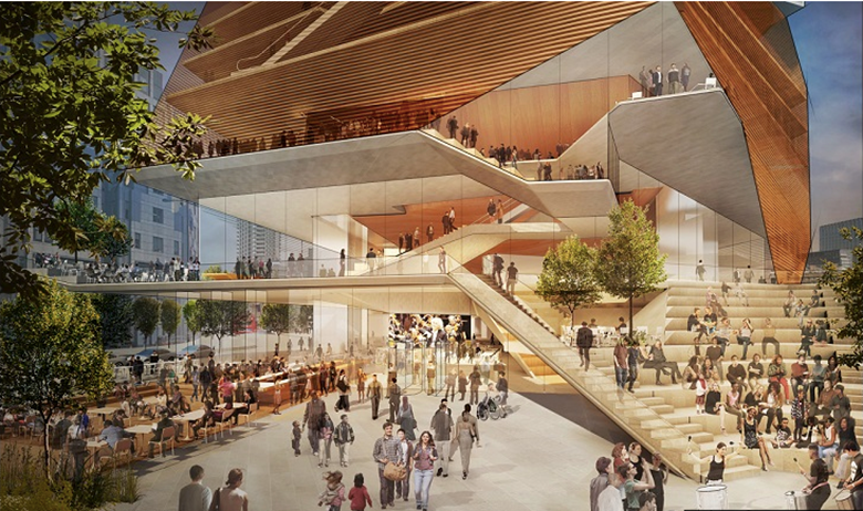 The proposed entry plaza at the Centre for Music