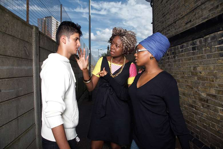 Leap Confronting Conflict trains young people and adults to help others better deal with conflict situations. Image: Tom Campbell (posed by models)