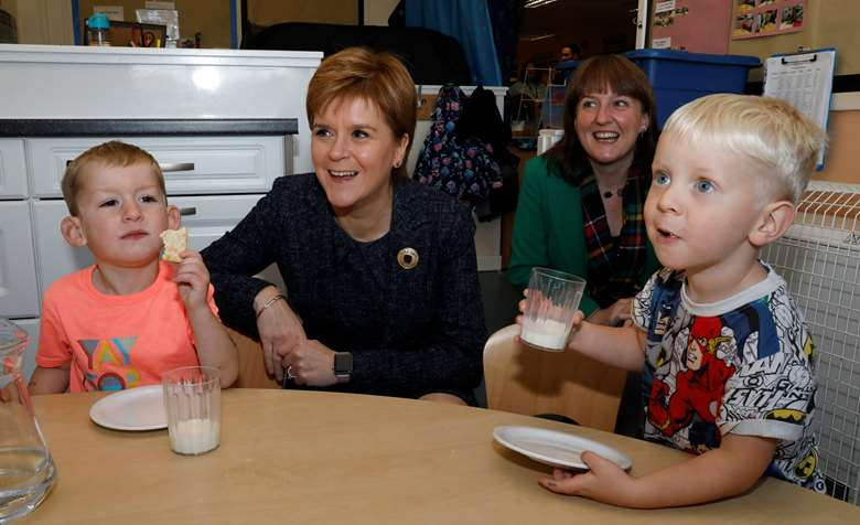 Nicola Sturgeon and children's minister Maree Todd visiting Sauchie Nursery in Alloa in October 2019