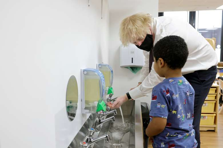 Prime minister Boris Johnson visited a nursery in Greenford on 25 March to mark the launch of Andrea Leadsom's early years review PHOTO 10 Downing Street Twitter