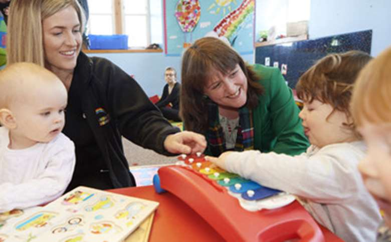 Children's minister Maree Todd on an earlier visit to a nursery