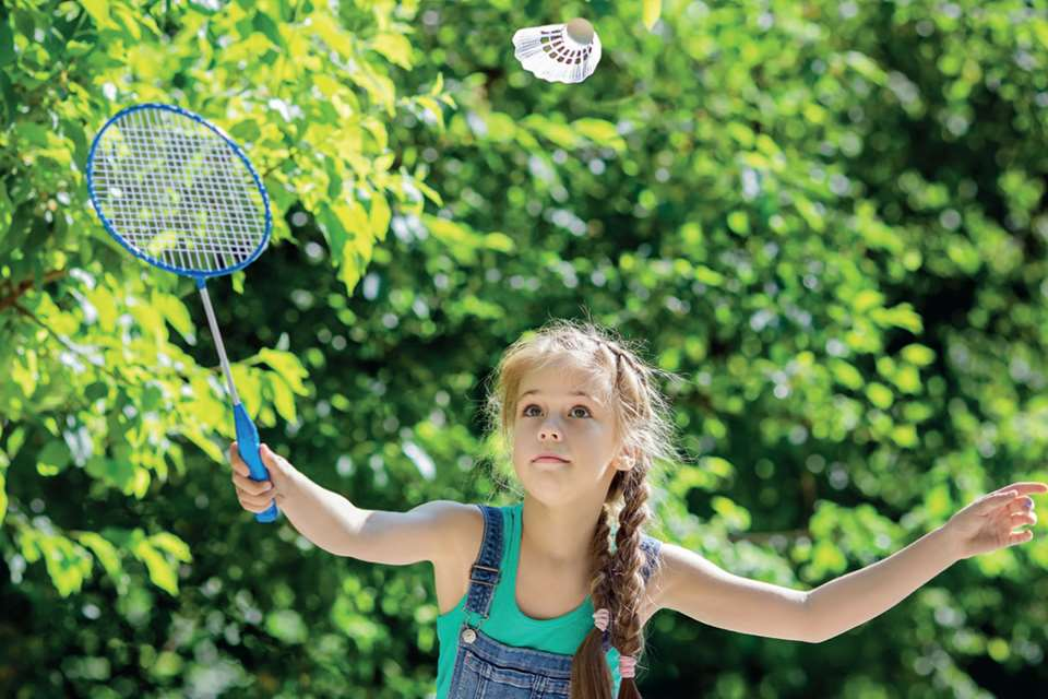 Badminton develops children's hand-eye coordination and encourages co-operative play