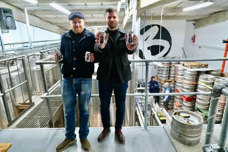 BrewBoard's Pugh (left) with Tonejet customer operations specialist Lukas Littva