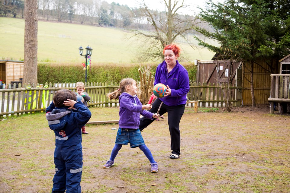 Children enjoy being active outdoors at the Old Station Nursery