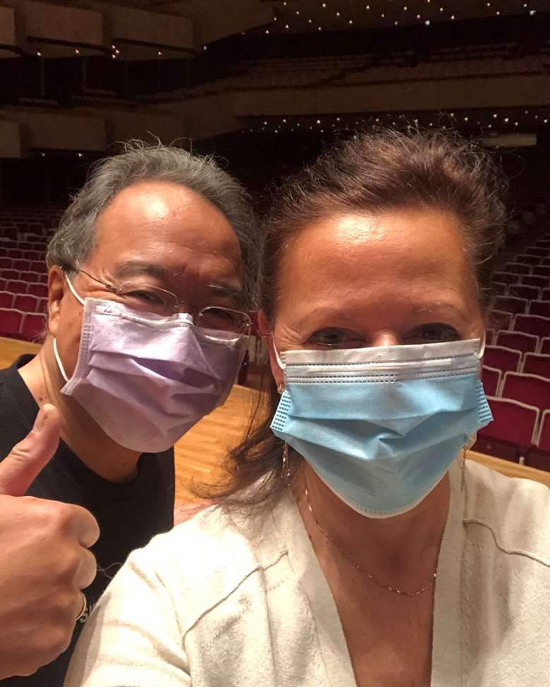 Yo-Yo Ma and Kathryn Stott - back playing together after two week's isolation