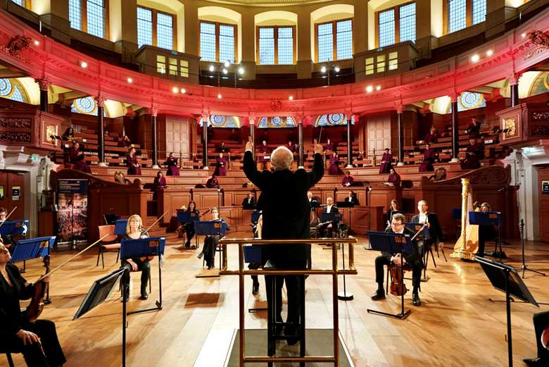 Recording John Rutter's new work in Oxford's Sheldonian Theatre