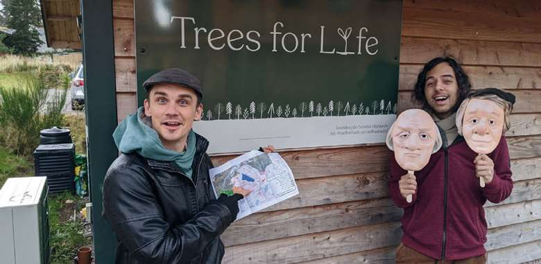 Dead Good cast members Aron De Casmaker and Joshua Patel visit Trees for Life in Scotland