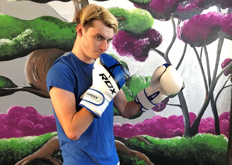 Lee took up boxing during his Shared Lives placement. Picture: Shared Lives