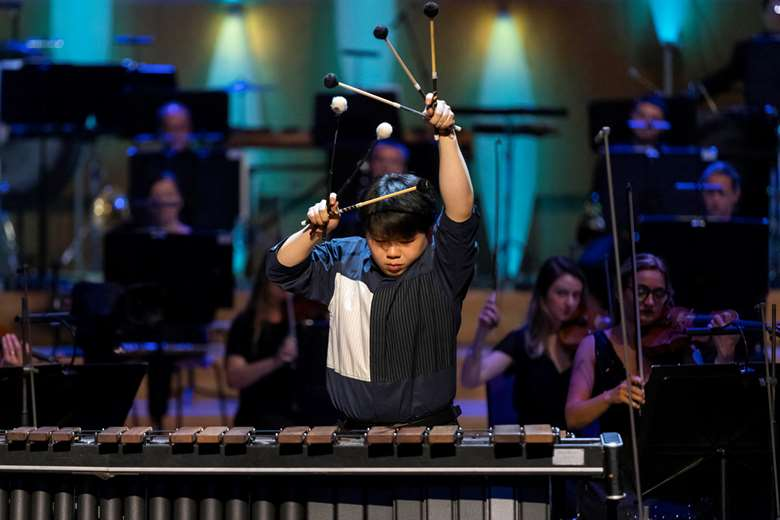 Percussionist Fang Zhang, the BBC Young Musician winner (photo: Fabio De Paola/ PA Wire)