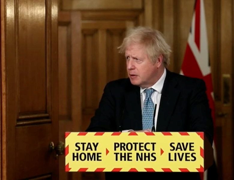 Boris Johnson speaking during the Downing Street coronavirus press conference on 7 January 2021