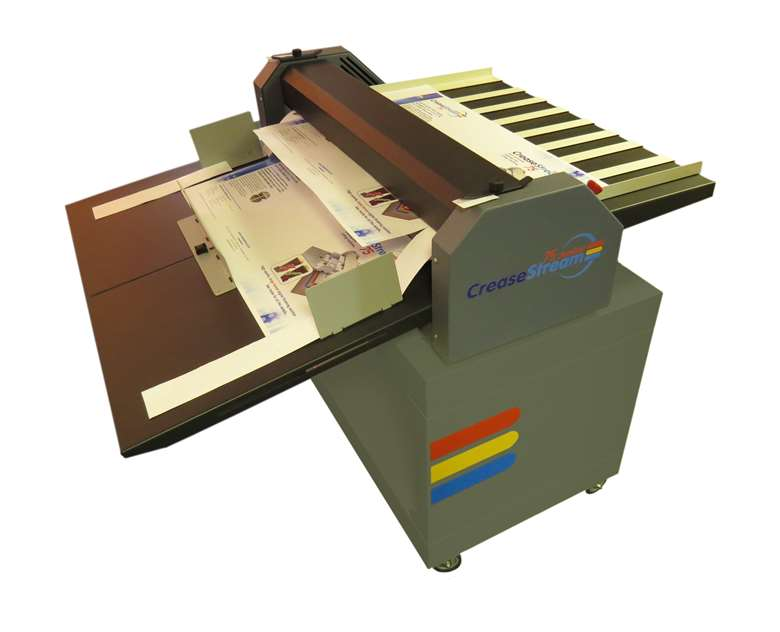The CreaseStream Junior 75 can full cut and crease a four-sided sheet in two passes