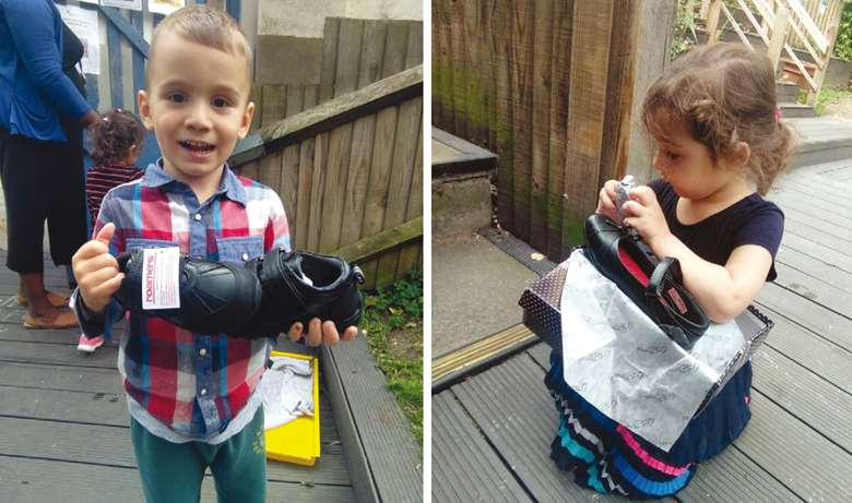 Children at Angel Pre-school were delighted with Sal's Shoes' donation of footwear