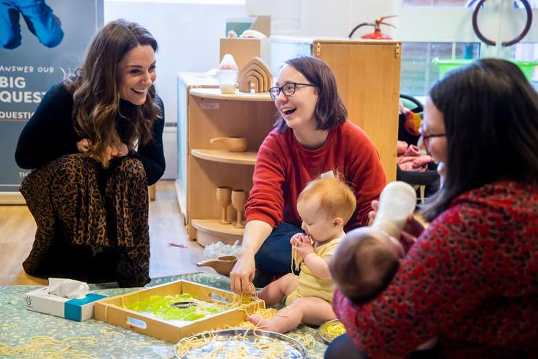 To launch the survey, the Duchess of Cambridge visited a baby sensory class at the Ely and Careau Children's Centre in Cardiff, where she heard about the support parents receive
