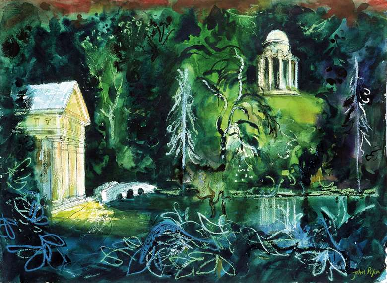 'Stourhead, 1981, the Temple of Flora, Bridge and Temple of the Sun' by John Piper (1903-92); he and his librettist wife Myfanwy were close friends of Britten (Bridgeman Images)