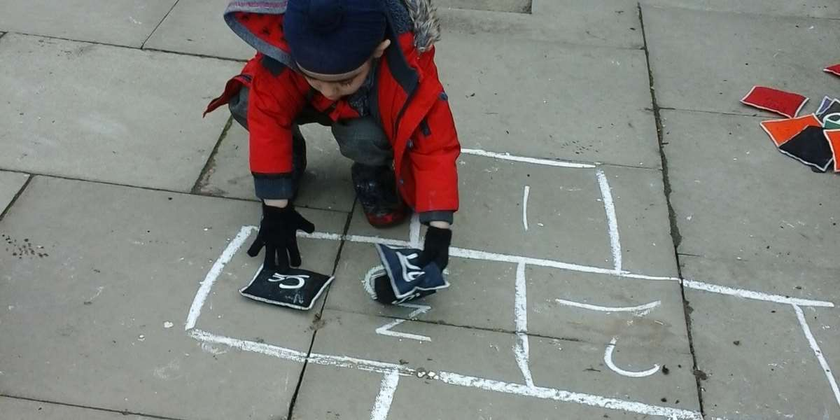 Schemes with horizontal and vertical trajectories can be supported with games like Hopscotch