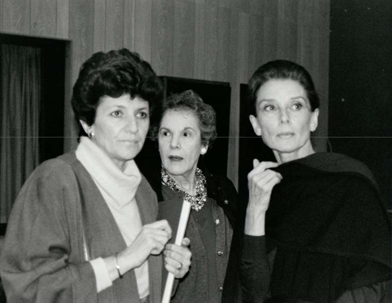 Dvora Lewis, pictured backstage at the LSO's Barbican home with another leading lady, Audrey Hepburn (right)
