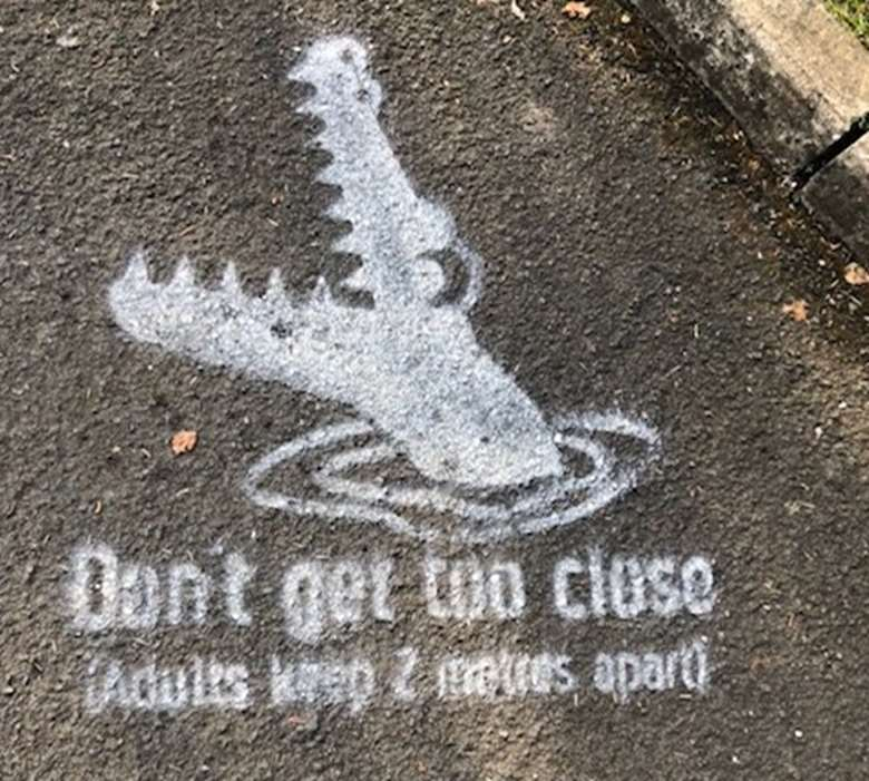 Crocodile stencils have appeared outside nurseries