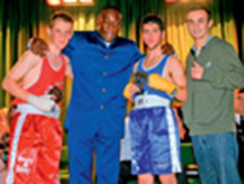 Priory school pupils with Frank Bruno