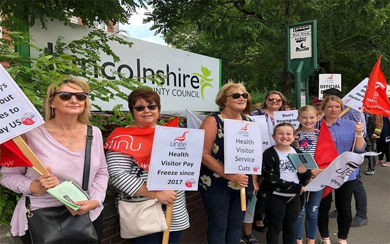 Lincolnshire Health Visitors also took strike action in the summer. Picture: Unite the Union
