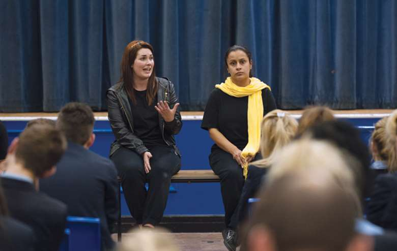 "After the play, the actors return to the stage in character for a ""hot-seating"" session, which gives pupils the chance to quiz them and discuss the issues of child sexual exploitation. Picture: Howard Barlow"