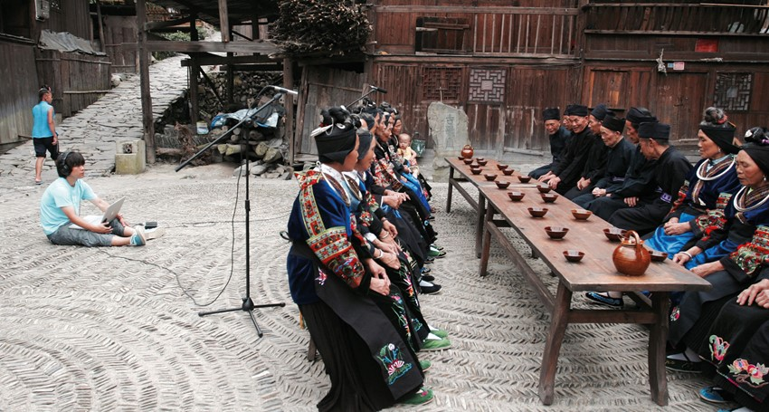 Hou Dudu with Miao people, in Guizhou province