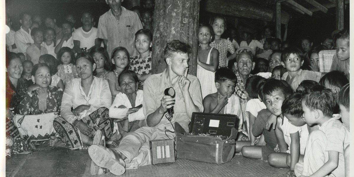 DA recording Dyak music in Longhouse, Borneo 1956 (c) David Attenborough.jpeg
